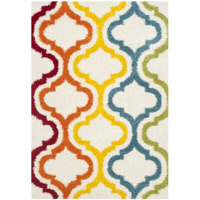 Kids Ivory Shag Area Rug Rug Size: Rectangle 53 x 76