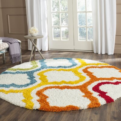 Kids Ivory Shag Area Rug Rug Size: Rectangle 89 x 12