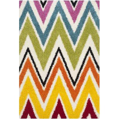 Kids Ivory Shag Area Rug Rug Size: Rectangle 53 x 76