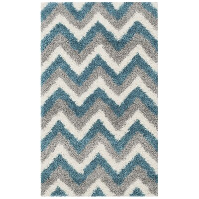 Kids Ivory/Blue/Gray Area Rug Rug Size: Rectangle 3 x 5