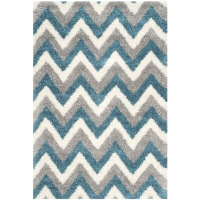 Kids Ivory/Blue/Gray Area Rug Rug Size: Rectangle 53 x 76