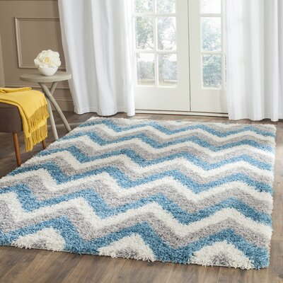 Kids Ivory/Blue/Gray Area Rug Rug Size: 53 x 76