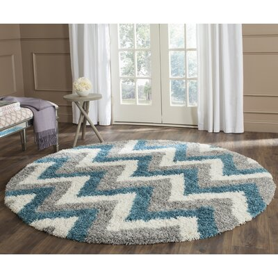 Kids Ivory/Blue/Gray Area Rug Rug Size: Round 67