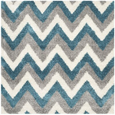 Kids Ivory/Blue/Gray Area Rug Rug Size: Square 67