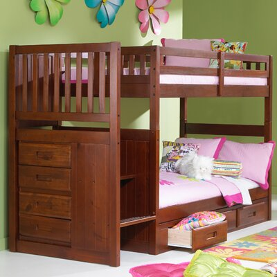 Kaitlyn Twin over Twin Bunk Bed with Stairs Finish: Merlot