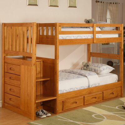 Kaitlyn Twin over Twin Bunk Bed with Stairs Finish: Honey