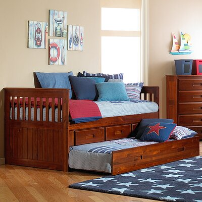 Kaitlyn Twin Slat Bed with Storage Configuration: 3 Drawers + 1 Trundle Unit, Finish: Merlot