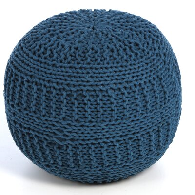 Ramon Color Cable Knit Ottoman Upholstery: Blue