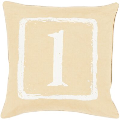Lily 100% Cotton Throw Pillow Size: 22 H x 22 W x 4 D, Color: Ivory/Gold, Letter: Z