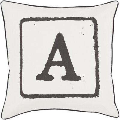 Lily 100% Cotton Throw Pillow Letter: A, Size: 22 H x 22 W x 4 D, Color: Black/Light Gray