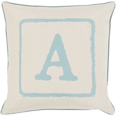 Lily 100% Cotton Throw Pillow Size: 22 H x 22 W x 4 D, Color: Moss/Beige, Letter: A