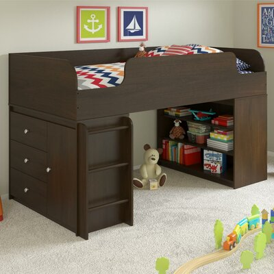 June Panel Bed with Bookcase and Storage Organizer Finish: Resort Cherry
