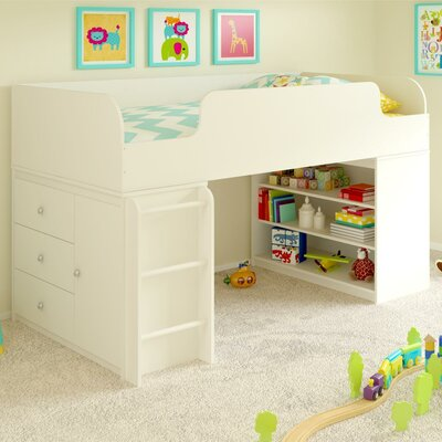 June Panel Bed with Bookcase and Storage Organizer Color: White Stipple