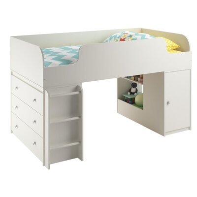 June Panel Bed with Ladder and Toy Box Finish: White Stipple