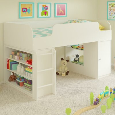 June Twin Panel Bed with Toy Box and Bookcase Color: White Stipple