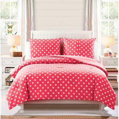 Jane Comforter Set Color: Coral, Size: Twin