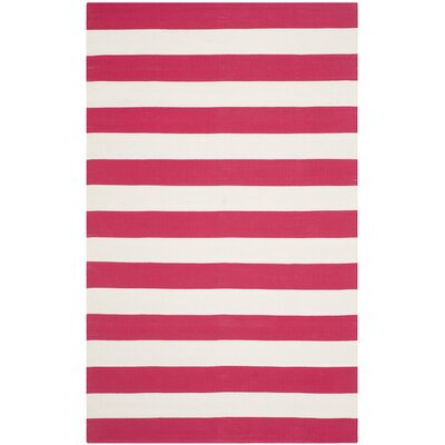 Brookvale Hand-Woven Cotton Red/White Area Rug Rug Size: Rectangle 6 x 9