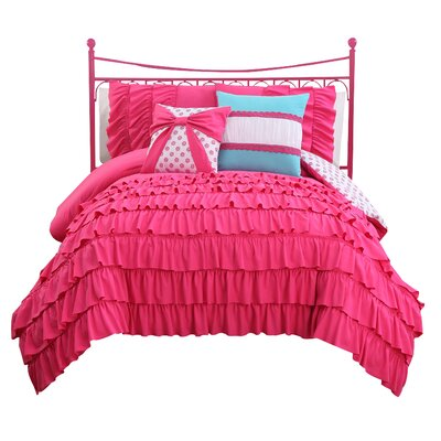Reb Reversible Comforter Set Color: Pink, Size: Twin
