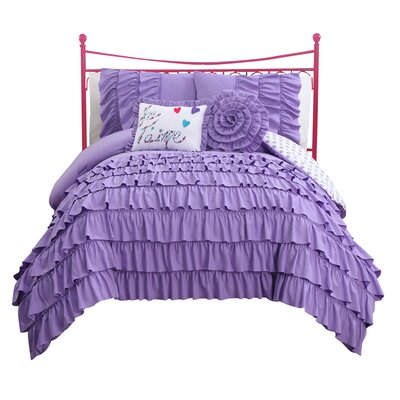 Reb Reversible Comforter Set Color: Purple, Size: Full