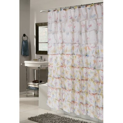 Dobbins Butterfly Print Crushed Voile Ruffle Tier Shower Curtain