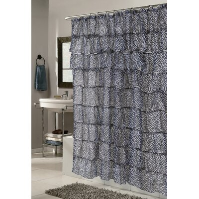 Dobbins Zebra Print Crushed Voile Ruffle Tier Shower Curtain