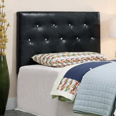 Sophia Rose Upholstered Panel Headboard Size: Twin, Color: Black