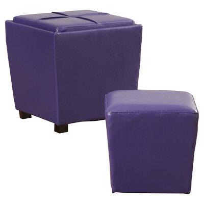 Isaac 2 Piece Ottoman Set Upholstery: Purple