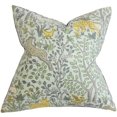 Marlene Floral Cotton Throw Pillow Color: Aquatint, Size: 18 H x 18 W