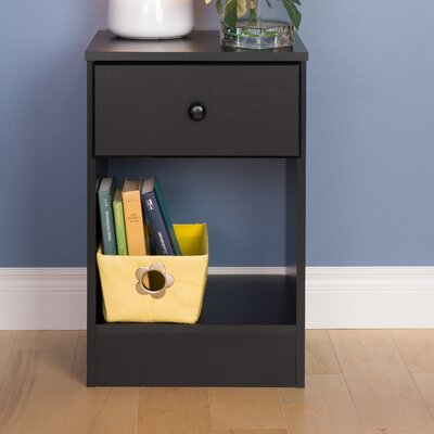 Bailey 1 Drawer Nightstand Color: Black