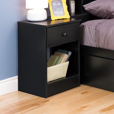Bailey 1 Drawer Nightstand Finish: Black