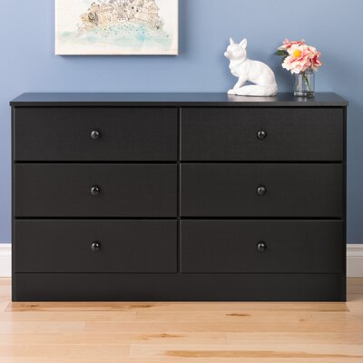 Bailey 6 Drawer Double Dresser Color: Black