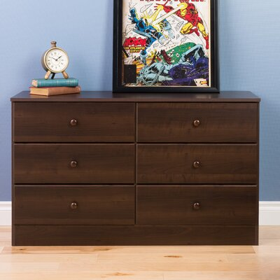 Bailey 6 Drawer Double Dresser Color: Espresso