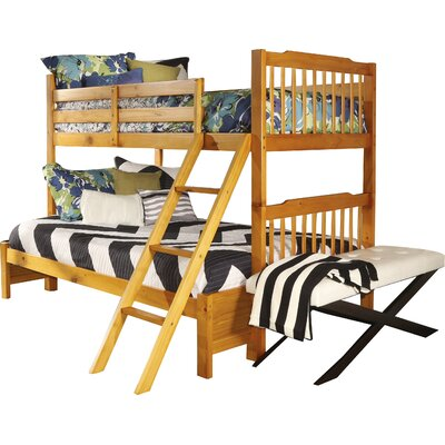 Theodore Twin over Full Bunk Bed Color: Honey Pine