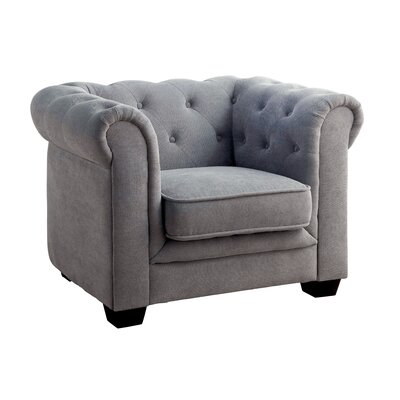 Brayden Tufted Youth Barrel Chair Color: Gray