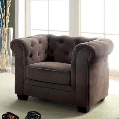 Brayden Tufted Youth Chestefield Chair Color: Ash Brown