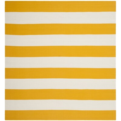 Ike Hand-Woven Yellow/White Area Rug Rug Size: Square 6