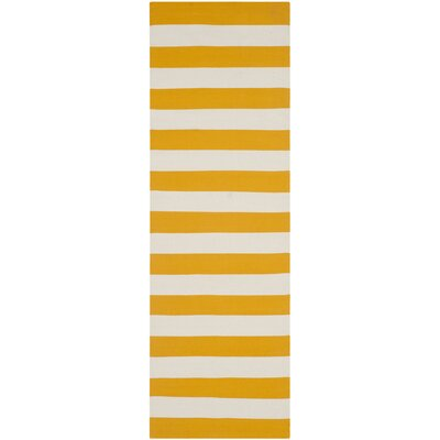 Ike Hand-Woven Yellow/White Area Rug Rug Size: Runner 23 x 9