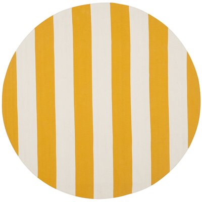 Ike Hand-Woven Yellow Area Rug Rug Size: Round 8