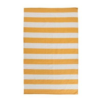 Ike Hand-Woven Yellow/White Area Rug Rug Size: 5 x 8