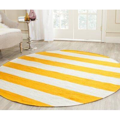 Ike Hand-Woven Yellow Area Rug Rug Size: Round 6