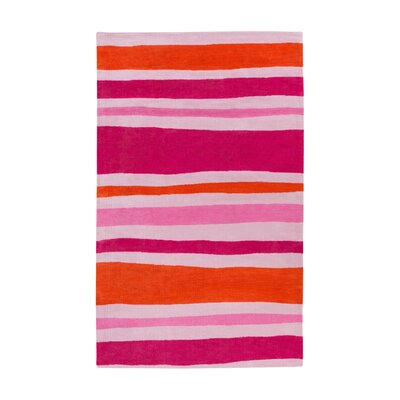 Lex Pink Striped Area Rug Rug Size: 8 x 11