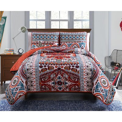 Israel Reversible Duvet Cover Set Size: Twin