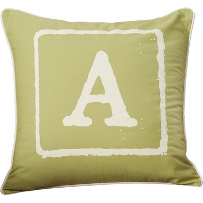 Lily 100% Cotton Throw Pillow Size: 18 H x 18 W x 4 D, Color: Ivory/Lime, Letter: A