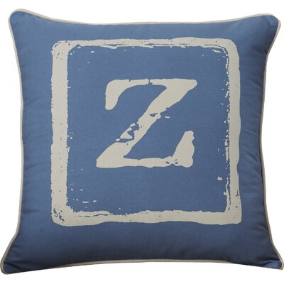 Lily 100% Cotton Throw Pillow Color: Beige/Cobalt, Letter: A, Size: 18 H x 18 W x 4 D