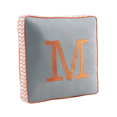 Monogram Throw Pillow Letter: M, Color: Turquoise