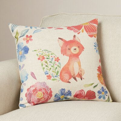 Clark Fox and Flowers Throw Pillow