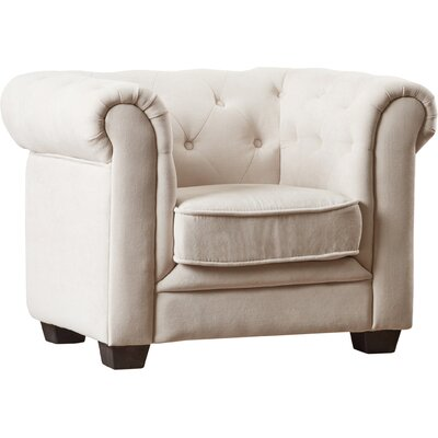 Brayden Tufted Youth Barrel Chair Color: Beige