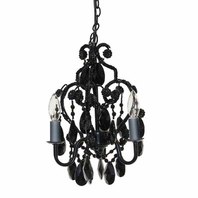 Caden 3-Light Crystal Chandelier Finish: Black