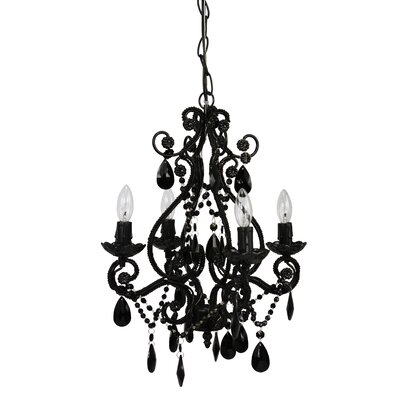 Caden 4-Light Crystal Chandelier Finish: Black