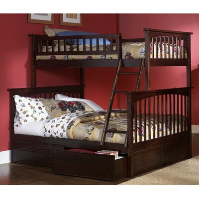 Henry Bunk Bed with Storage Size: Full over Full, Color: Antique Walnut